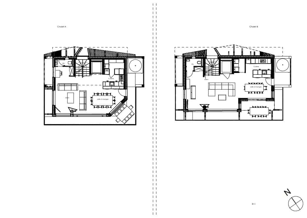 This showcases the illustration of the second level floor plan for the two structures of the property.