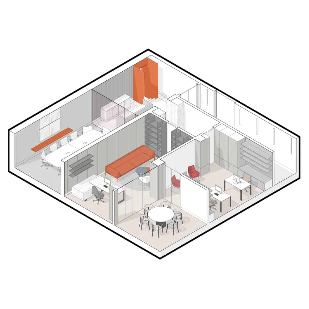 This is an illustrative representation of the floor plan showing the many various sections of the office.