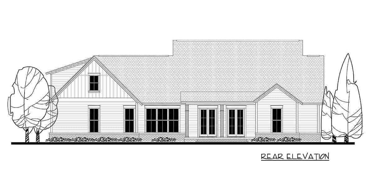 Rear elevation sketch of the 5-bedroom two-story modern farmhouse.