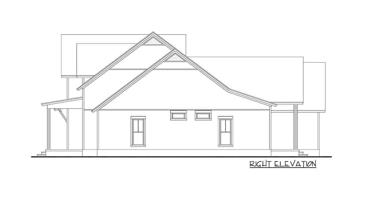 Right elevation sketch of the 5-bedroom two-story modern farmhouse.