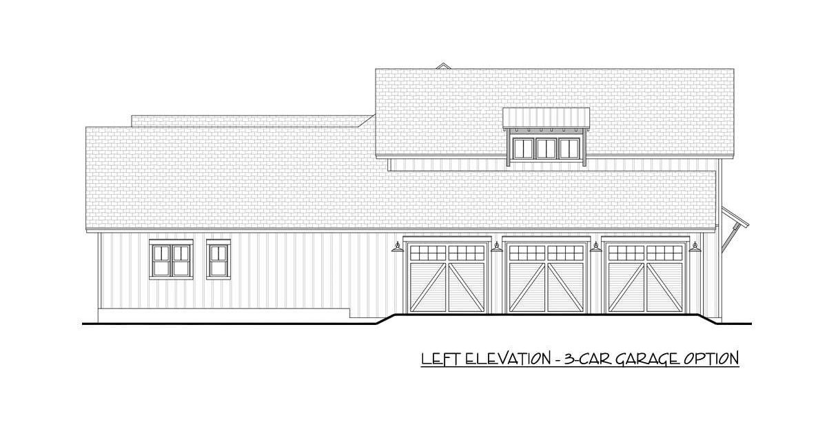 Left elevation 3-car garage option sketch of the 5-bedroom two-story modern farmhouse.