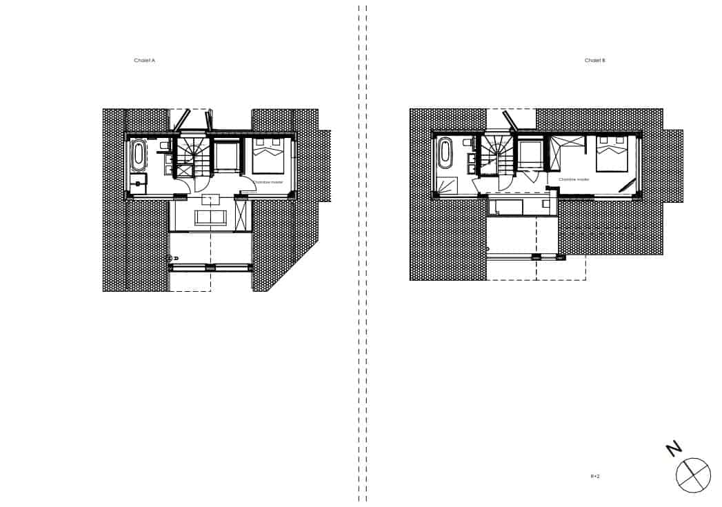 This showcases the illustration of the third level floor plan for the two structures of the property.