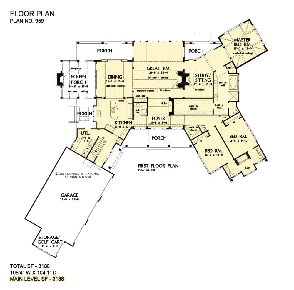 Main level floor plan of a 4-bedroom two-story modern farmhouse with front, rear, and screened porches, foyer, great room, dining area, kitchen, study, utility room, three bedrooms, and a three-car garage.