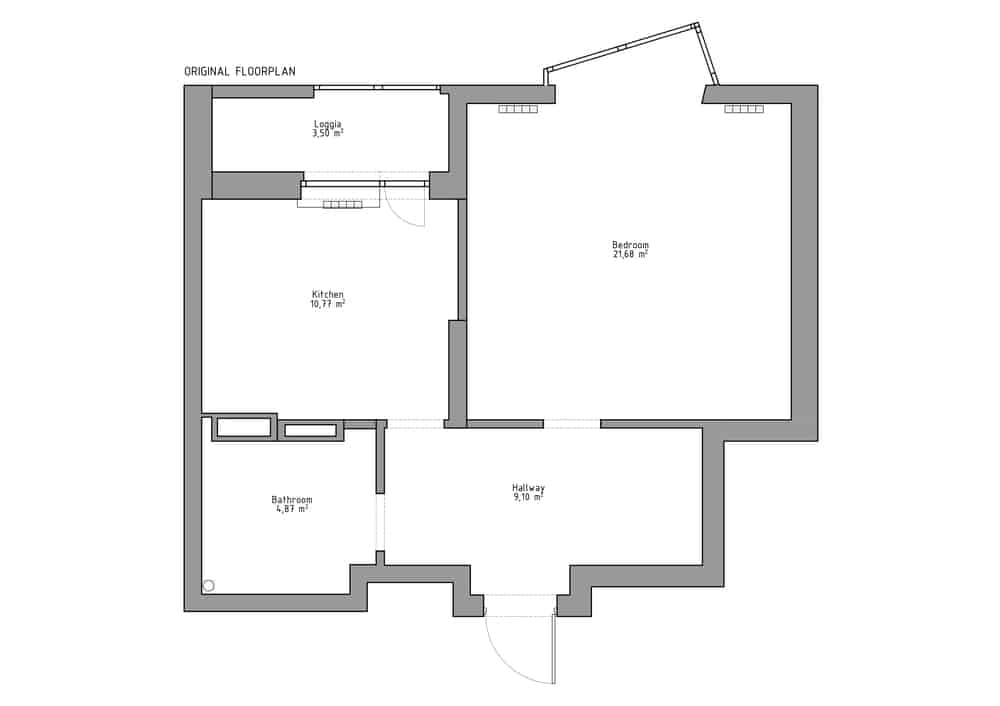 This is an illustration of the original floor plan showcasing the large sections of the house.