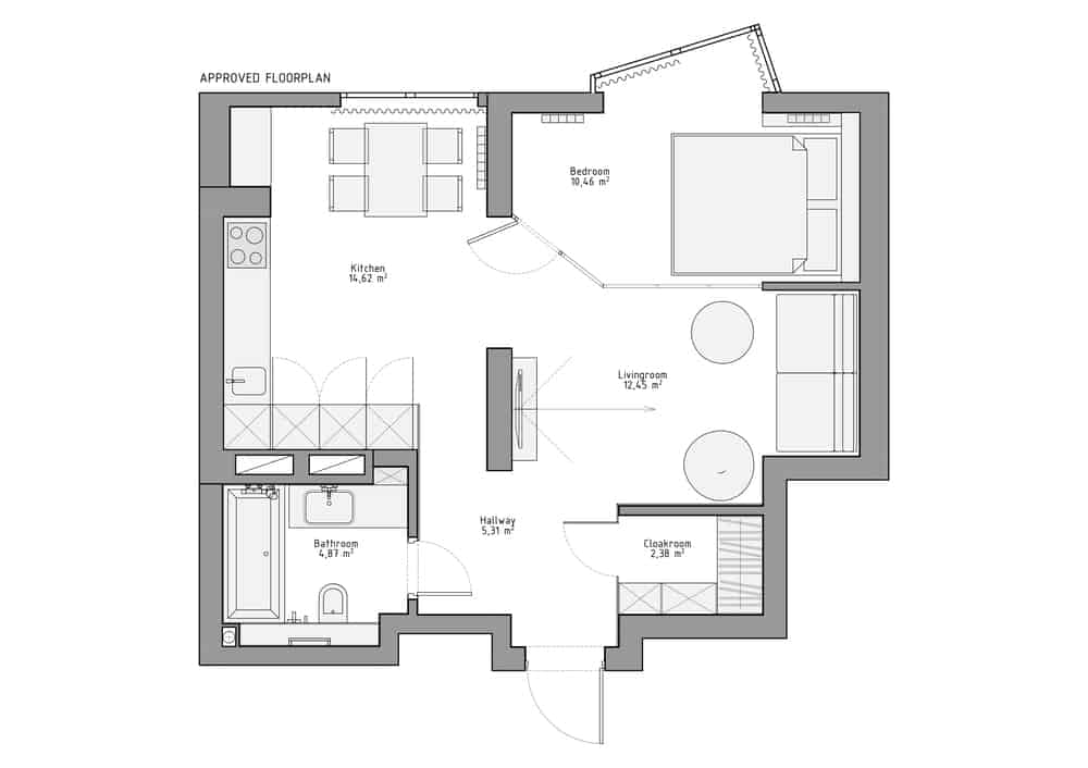 This is the improved floor plan showcasing a better flow for the house and it many sections.