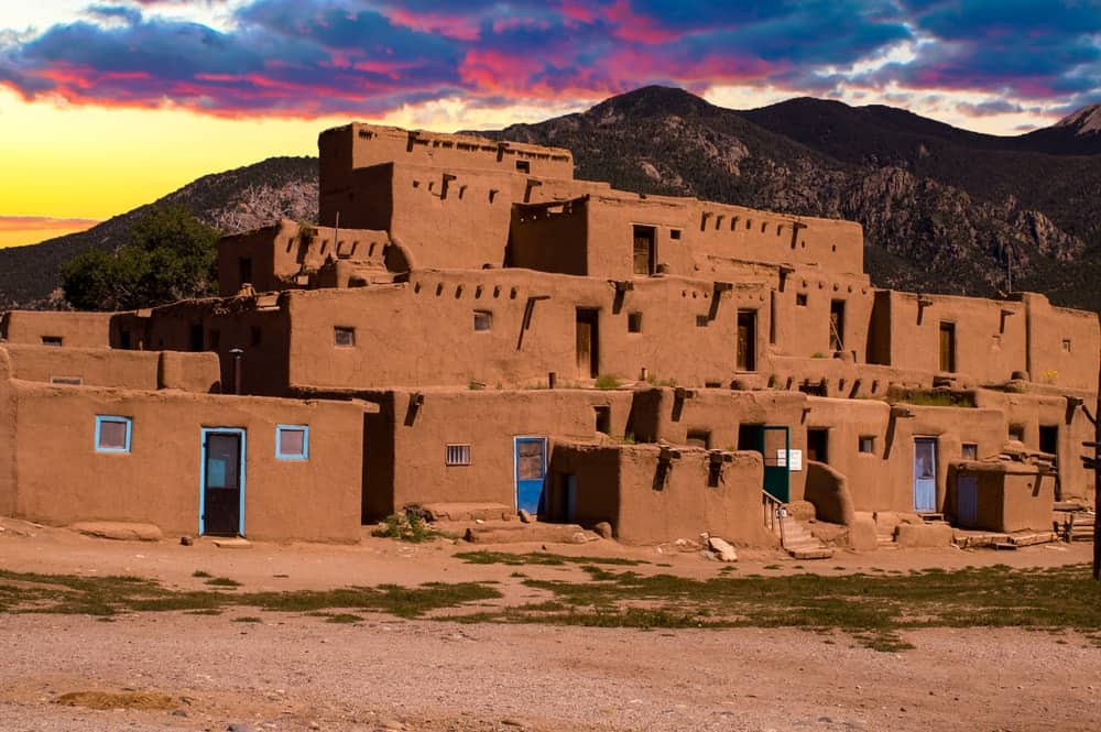 The adobe houses of the ancient city of Taos.