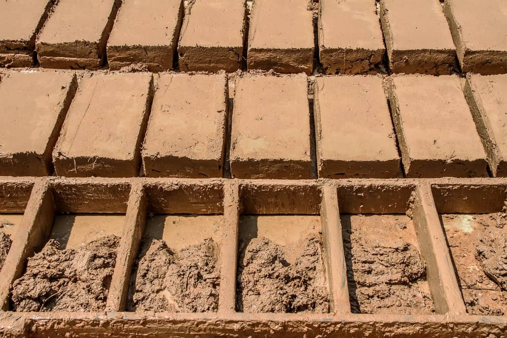 This is a close look at the process of making clay bricks.