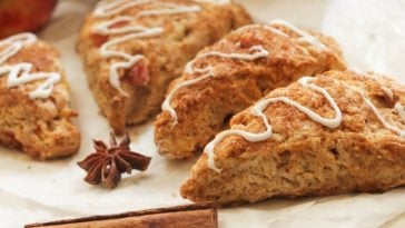 Pieces of homemade apple cinnamon scones.