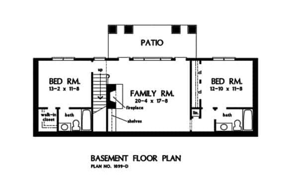 Basement floor plan with two bedrooms, and a family room.