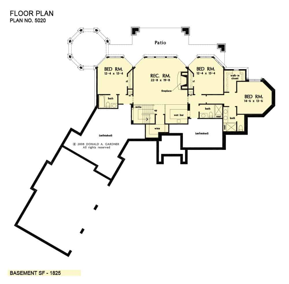 Basement floor plan with three bedrooms and a recreation room with a wet bar and a wine cellar.
