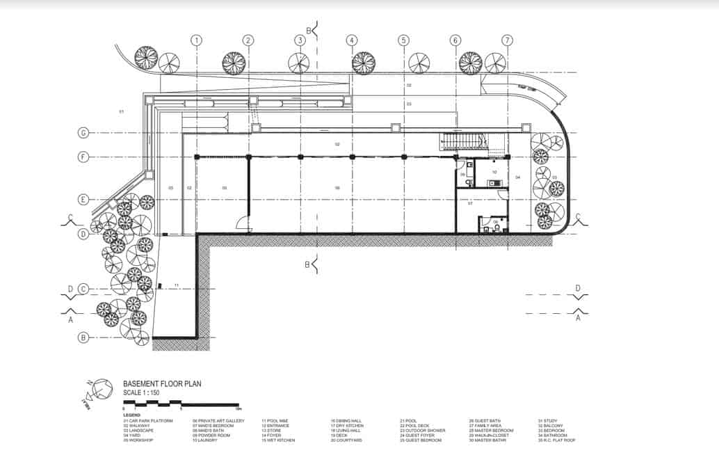 This is an illustration of the basement level floor plan of the house with the various sections of the house.