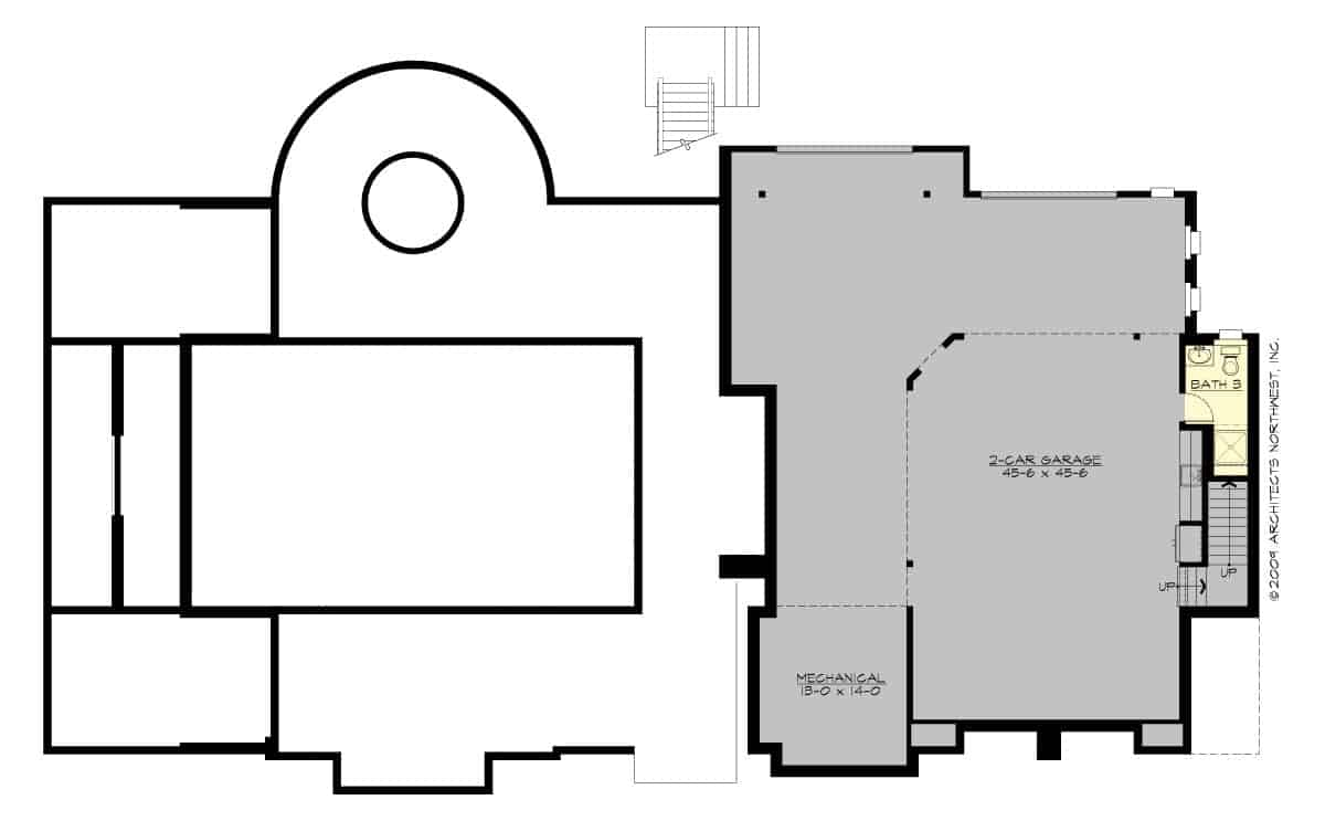 Basement floor plan with a two-car garage, mechanical room, and a bathroom.