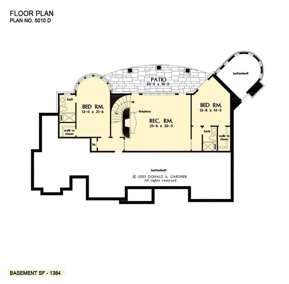 Basement floor plan with two bedrooms, and a recreation room.