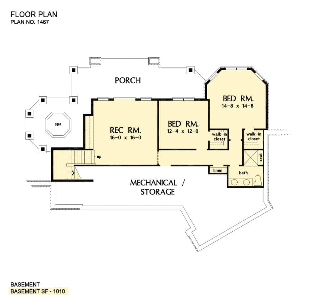Basement floor plan with two bedrooms, a hall bath, and a recreation room that opens to the lower level porch.