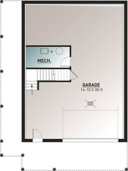 Basement floor plan with garage and a mechanical room.