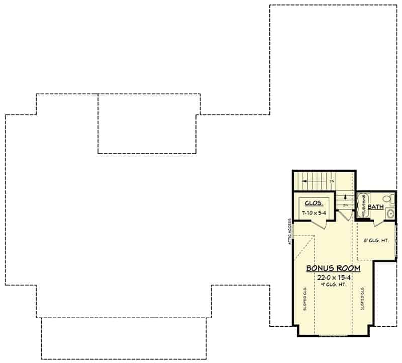 Bonus room floor plan above the garage with full bath and walk-in closet.