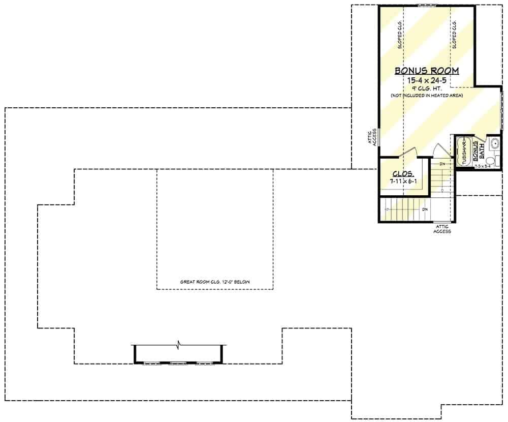 Bonus room floor plan with a bonus bath and walk-in closet.
