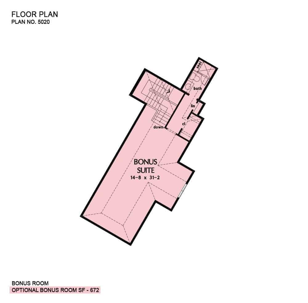 Bonus room floor plan with a full bath and a walk-in closet.