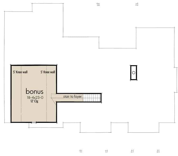 Bonus room floor plan showing the staircase leading down the foyer.
