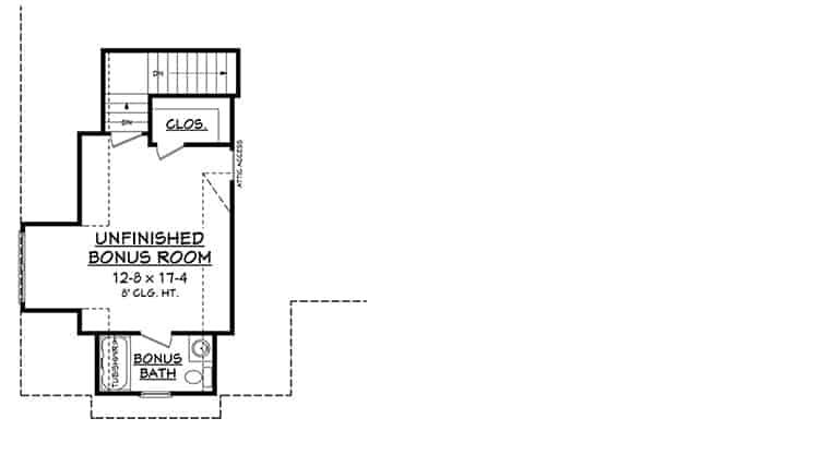 Bonus room floor plan over the garage with a bath and walk-in closet.