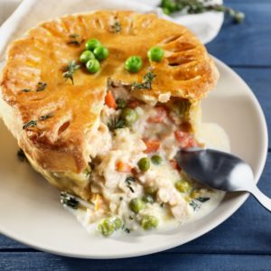 This is a freshly-baked chicken pot pie on a plate.