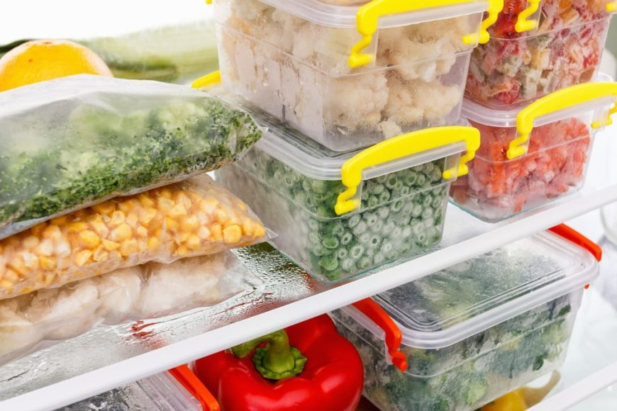 An abundant supply of food preserved in cold storage.