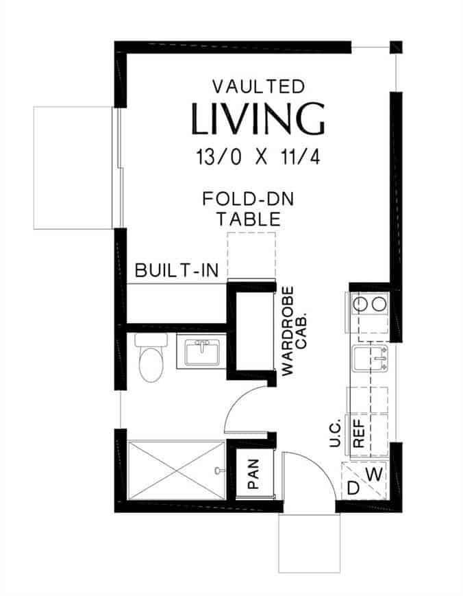 Entire floor plan of a 1-bedroom single-story Bowman small farmhouse with a large living space, a kitchen, and a full bathroom.
