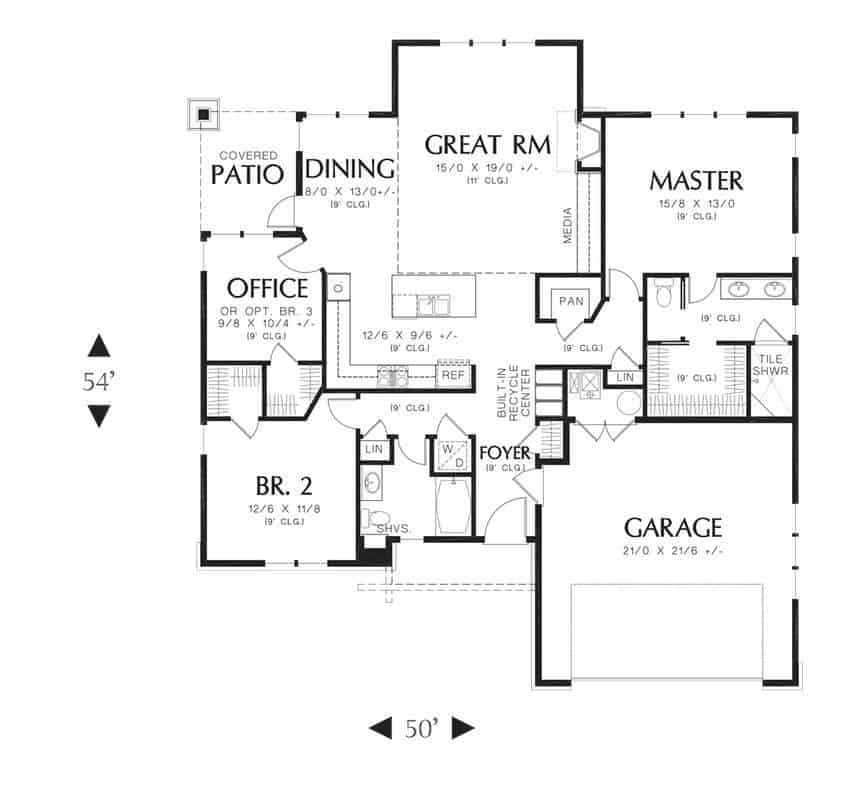 Entire floor plan of a 3-bedroom single-story bungalow style Rollinsford home with a double garage, foyer, great room, dining area, and three bedrooms including the primary suite and the flexible office.
