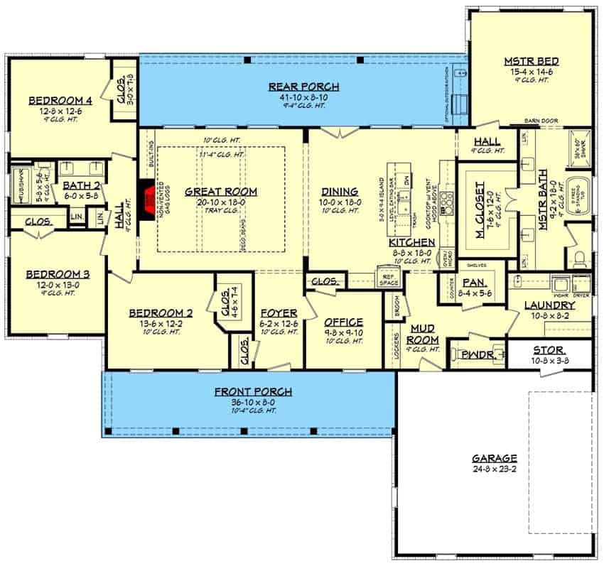 Entire floor plan of a 4-bedroom single-story modern farmhouse with front and rear porches, foyer, great room, dining area, kitchen, office, laundry room, four bedrooms, and a double garage.