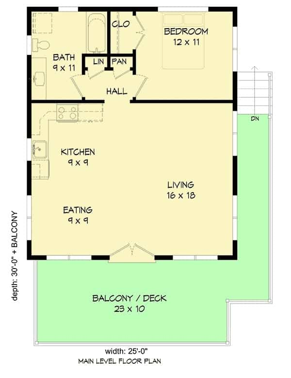 Entire floor plan of a single-story 1-bedroom contemporary coastal home with living room, kitchen, dining area, bedroom, bathrom, and a wraparound deck.