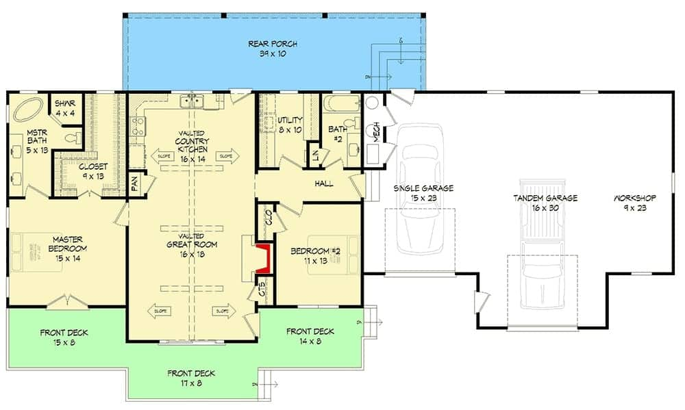 Entire floor plan of a single-story 2-bedroom country home with front and rear porches, vaulted great room, country kitchen, utility room, two bedrooms, and an oversized garage with a workshop.