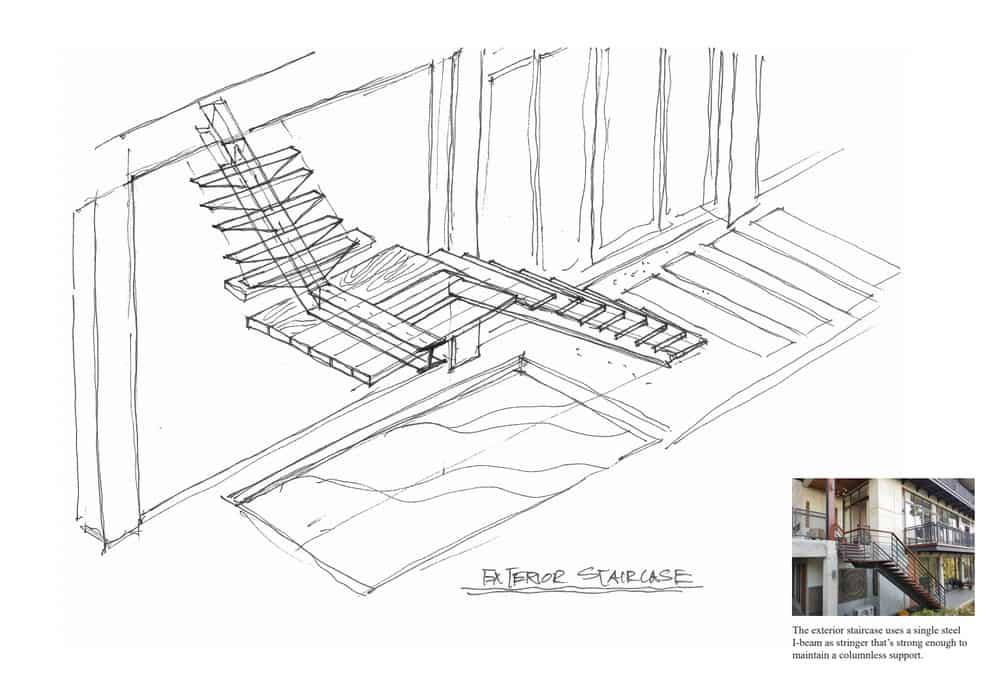 This is the illustration of the exterior staircase along with the finished look.