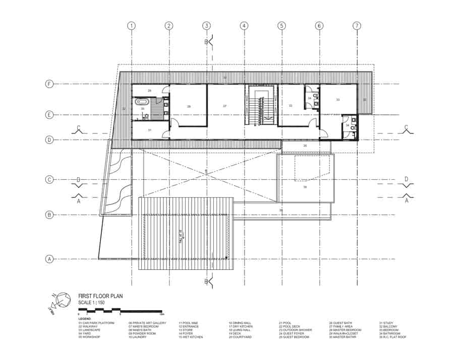 This is an illustration of the first level floor plan of the house with the various sections of the house.