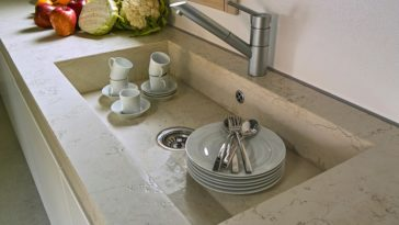 A wide flush mount kitchen sink.