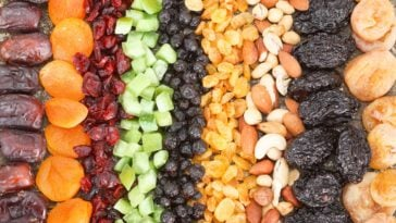 This is a close look at rows of various dried fruits and nuts.