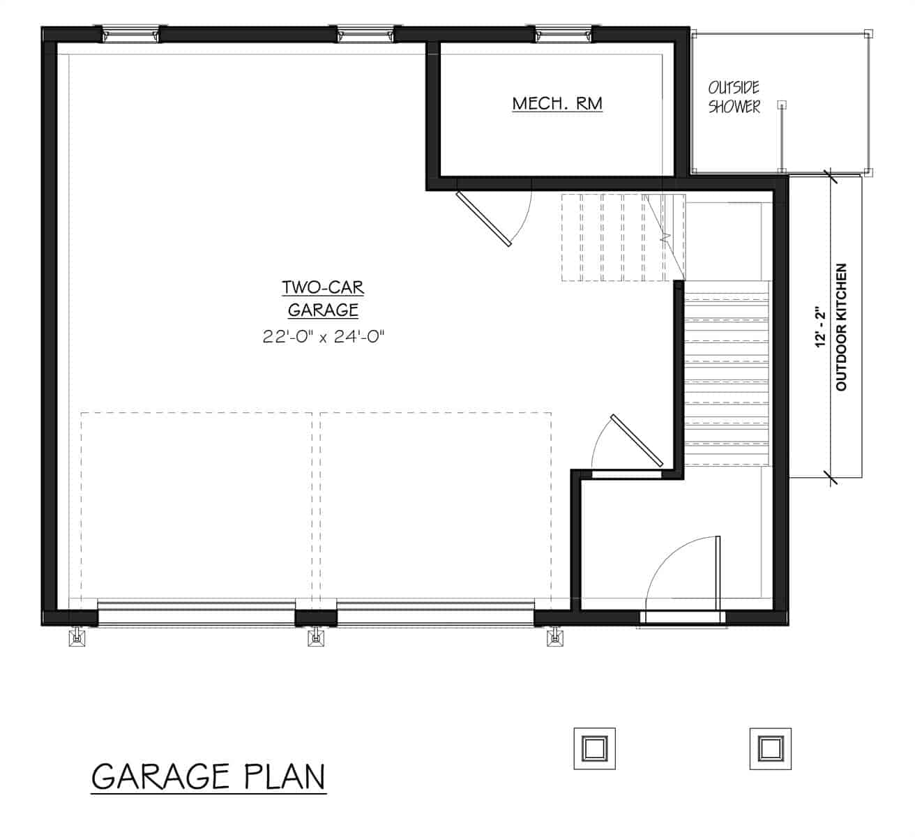 Garage floor plan with a mechanical room, outdoor shower, and outdoor kitchen.