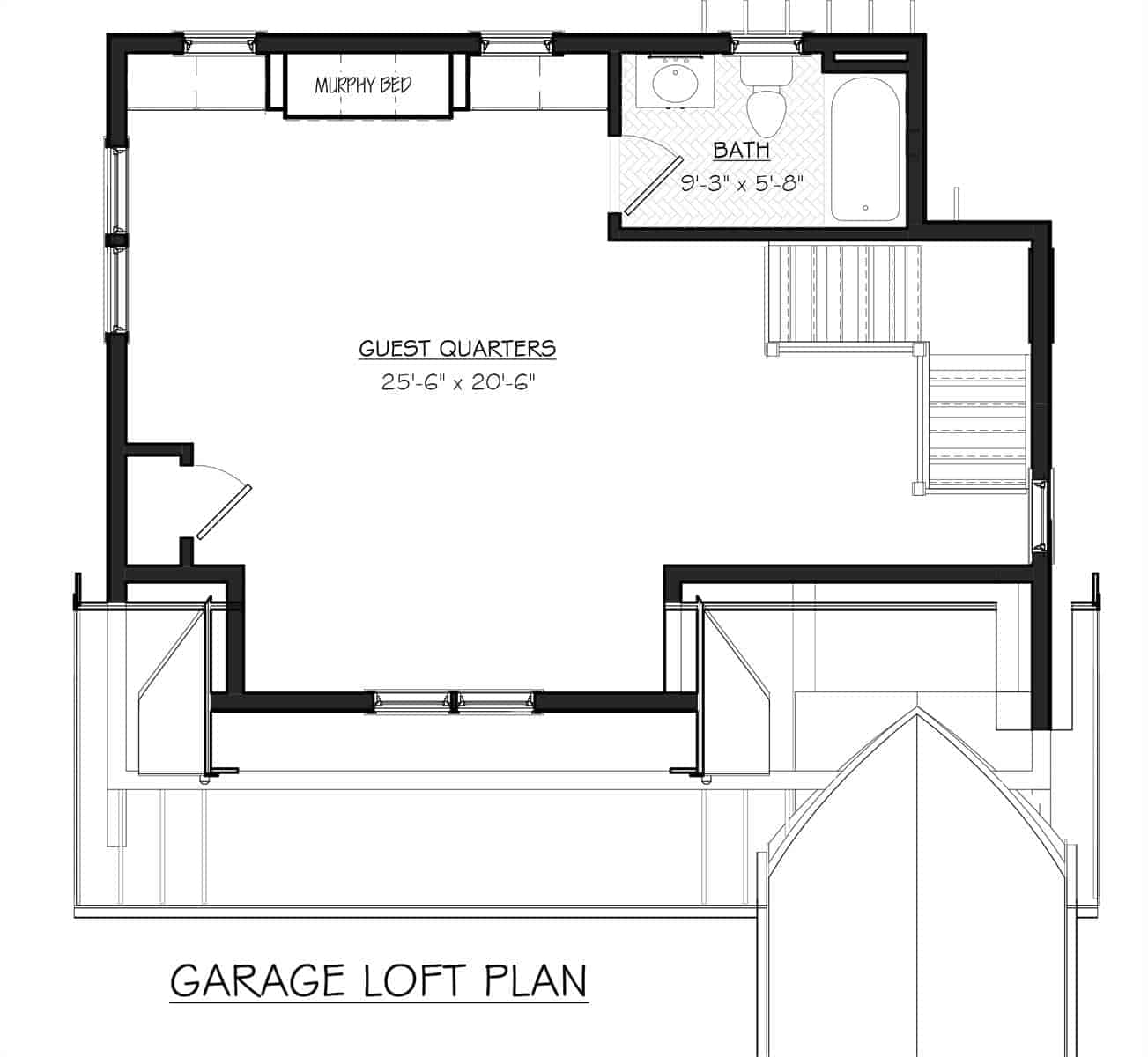 Garage loft floor plan with guest quarters complete with a bath and closet.