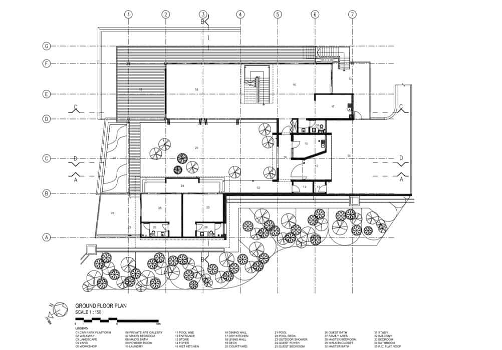 This is an illustration of the ground level floor plan of the house with the various sections of the house.