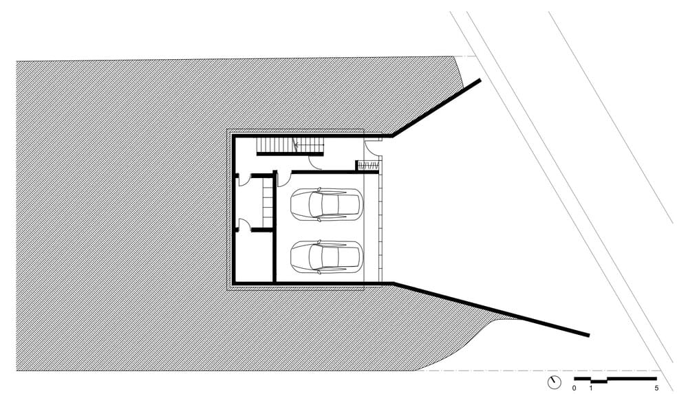 This is an illustration of the garage level floor plan and its sections.