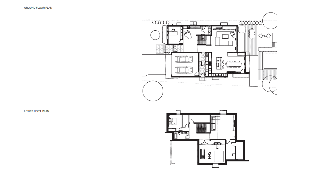 This is an illustration of the ground and lower level floor plans of the house and its various sections.