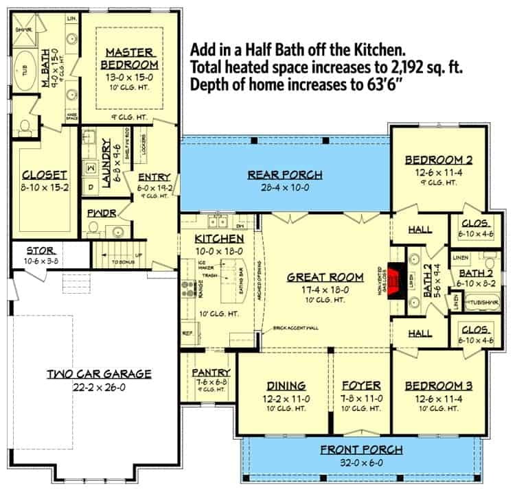 Main level floor plan with a half bath option off the kitchen.