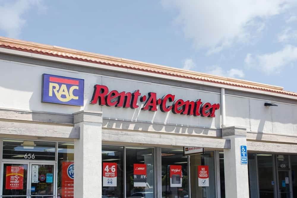 A storefront for Rent-A-Center appliance store.
