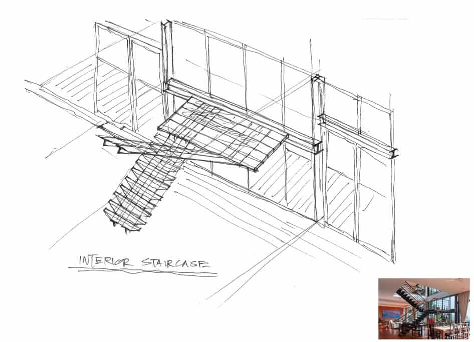This is the illustration of the interior staircase along with the finished look.