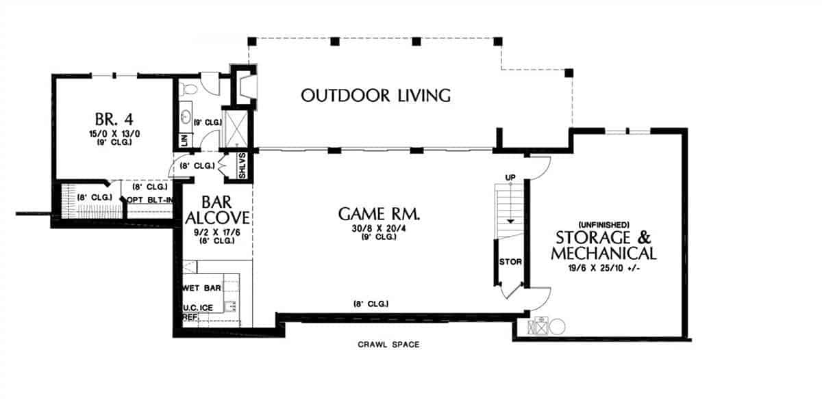 Second level floor plan with another bedroom, huge storage and mechanical room, and a game room with a wet bar.