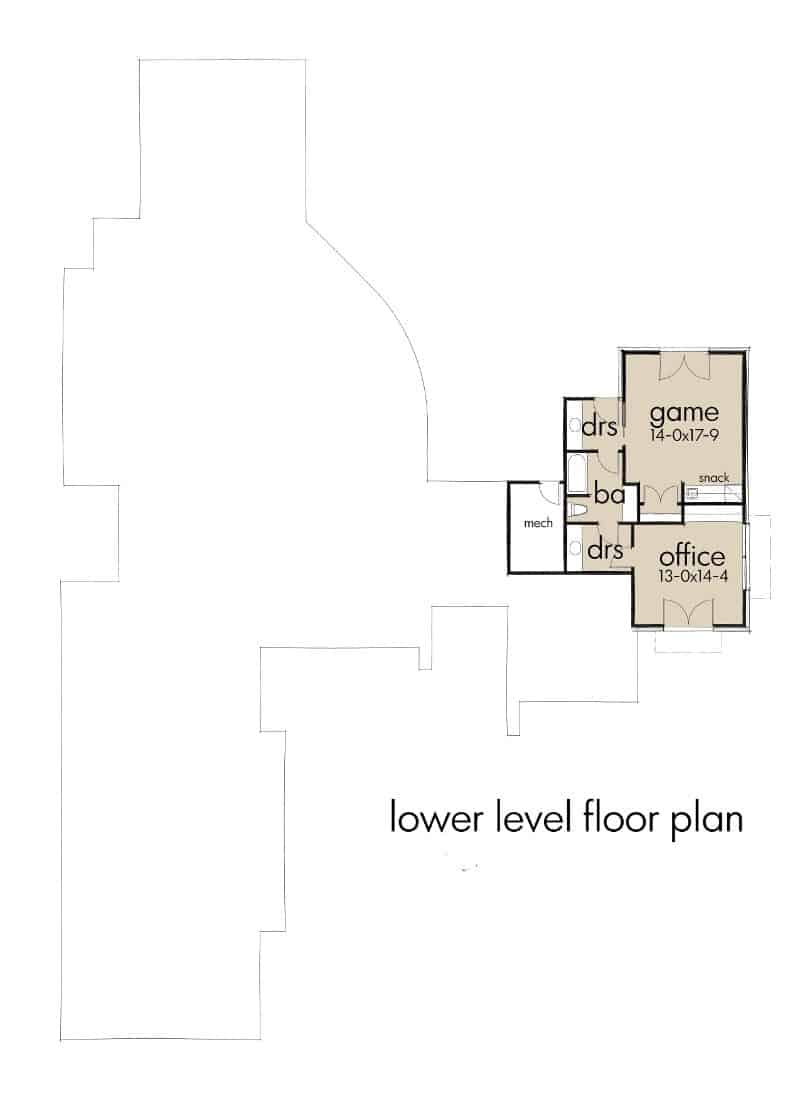 Lower level floor plan with a game room, office, and a full bath.