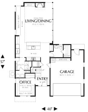 Main level floor plan of a 2-bedroom two-story Attleboro contemporary home with living/dining, kitchen, office, utility room, and a double garage.