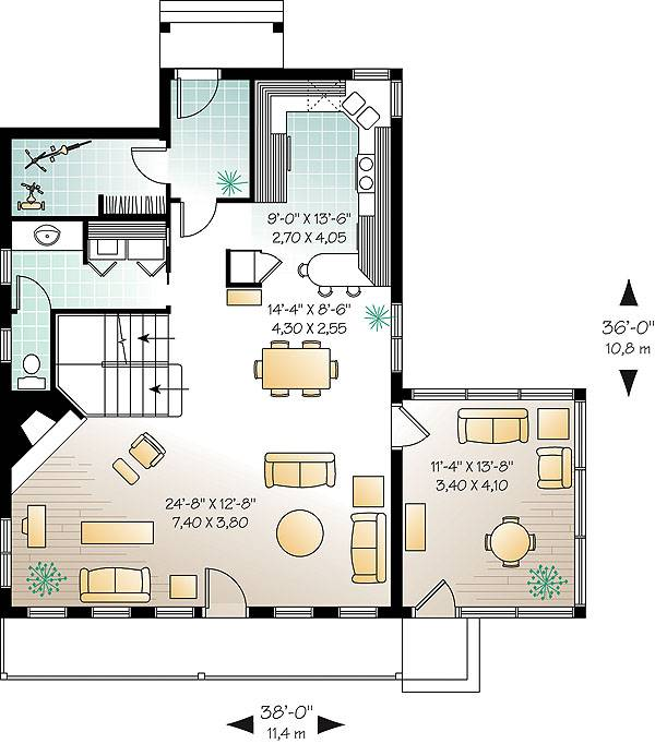 Main level floor plan of a 2-bedroom two-story The Woodline 2 beach front country style home with living room, dining area, kitchen, sunroom, and a half bath.