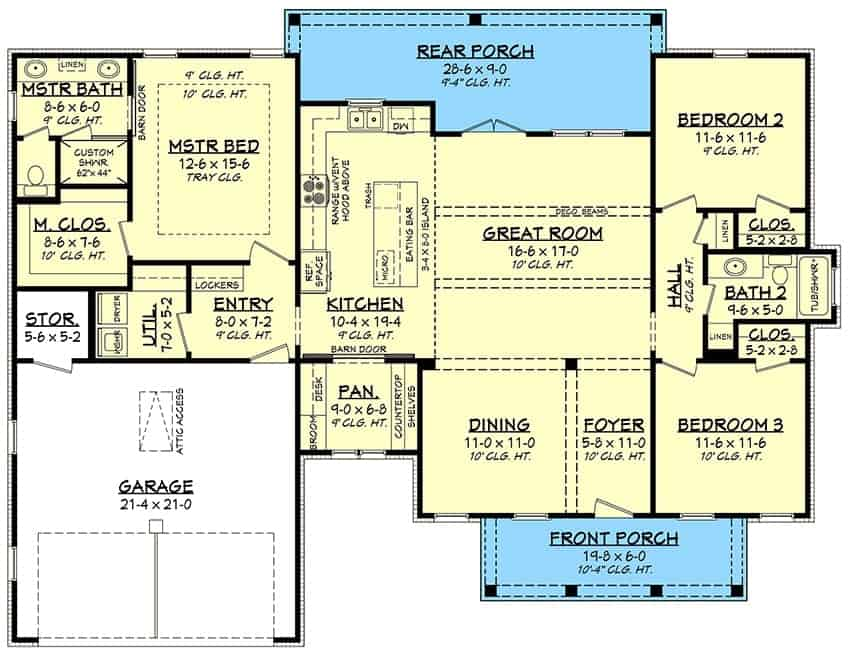 Main level floor plan of a 3-bedroom single-story modern farmhouse with front and rear porches, foyer, formal dining room, great room, kitchen, three bedrooms, utility, and a double garage.