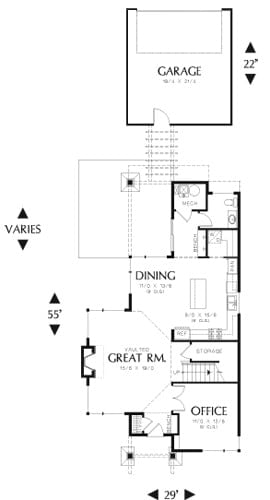 Main level floor plan of a 3-bedroom two-story contemporary style Etna home with great room, kitchen, dining area, office, half bath, and a mechanical room.