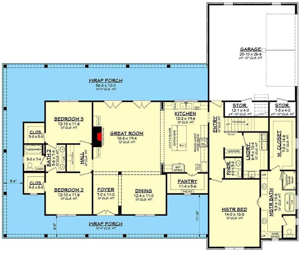 Main level floor plan of a 3-bedroom two-story modern farmhouse with a wraparound porch, foyer, formal dining room, great room, kitchen, laundry room, three bedrooms, and a double garage with storage spaces.